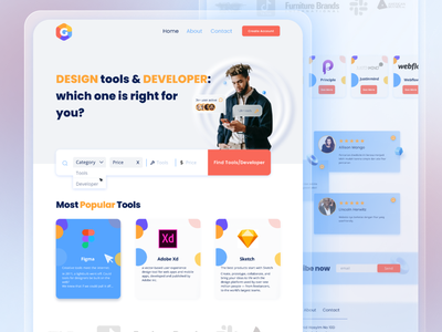 Find Tools & Developer Landing Page branding new year gear red blue design ux ui developer tools landing design landing page landing landingpage