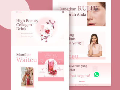 Drink Beauty Landing Page - Typography Design beauty website websitedesign website web uiwebsite uidesign uiux ui pink product healthydrink healthy drink beauty product beauty typogaphy typo landingpage landing