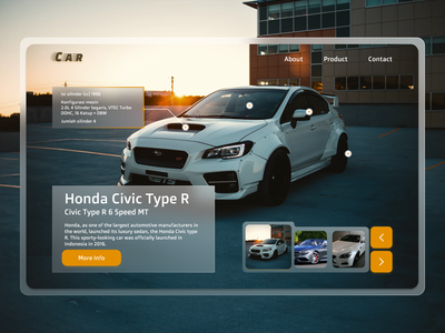 Hero Section Car Sport - Hero Web Design uiuxdesign uiux ux ui webdesign web description white civic car sport page design page landingpage section hero