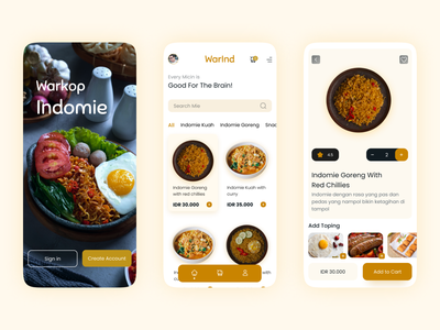 Food App Indomie - IOS App android app ui design design appfood uiuxdesigner brown indomie food yellow iosdesign iosapp uxdesign uiuxdesign uidesign uiux uix ui