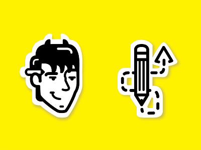 Mark exploration wichita branding personal mischief portrait yellow horns designer devil pencil