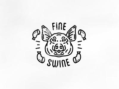 Fine Swine  trump meat wichita badge linear head oink sausage pig pork