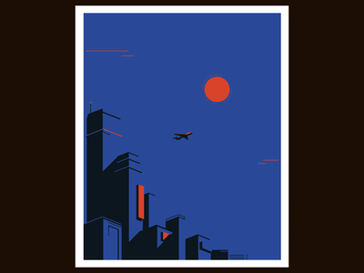 DUSK color palette vector illustration art negativespace isometric illustration vector illustration adobe illustrator minimalism city primary colors dusk aeroplane city illustration urban art