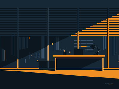 OFFICE SERIES: OFFICE EVENING workspace interior 2d illustration cityscape office 2d illustrator city minimalist graphic vector illustration modern unique original
