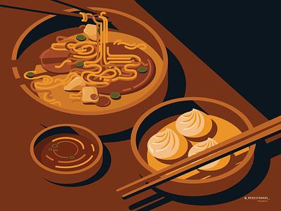 ASIAN CUISINE line cuisine food illustration vector illustration minimal simple editorial art east chopsticks asian noodles bowl geometric food asian food noodle