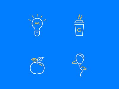 Funny icons 2 line bright icon stroke light bulb apple balloon coffee