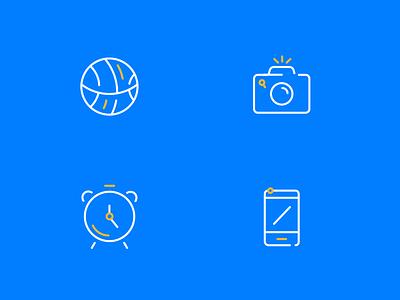 Funny icons 3 line illustration icon stroke clock alarm phone camera photo ball