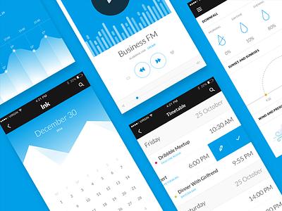 Ink Update app ux ui chart weather to do timetable media player widget calendar ink