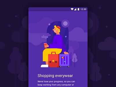 Material Design Kit template sign up sign in travel material design walkthrough cartoon purple app