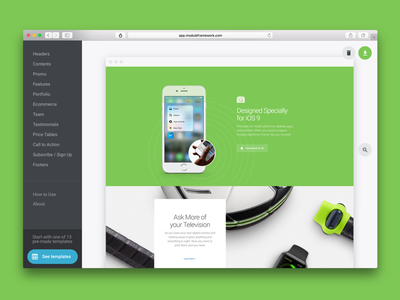 Module Framework one page bright ui framework template call to action features price tables content header landing page