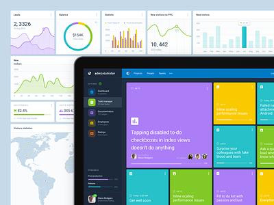 Administrator ● Dashboard design starter pack options profile ui admin rate statistic dashboard chart