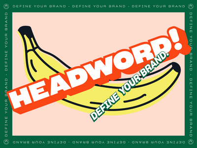 Headword Branded A Banana vector icon illustration color brand identity pastel define dimension 3d logo design branding brand headword banana