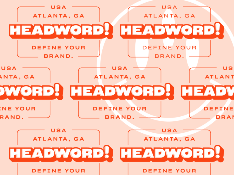 Headword! Atlanta, GA vector color logo brand identity brand design branding typography layered smiley brand define usa pattern red headword design atlanta