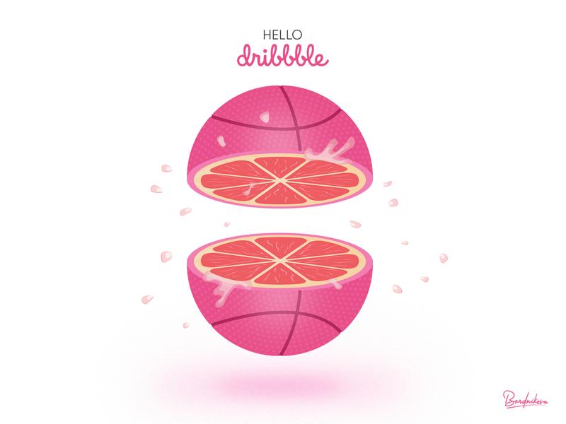 Hello Dribbble!!! art pinky hello vector illustrator illustration vector art juicy orange grapefruit pink dribbble ball dribbble invite dribbble hello dribbble