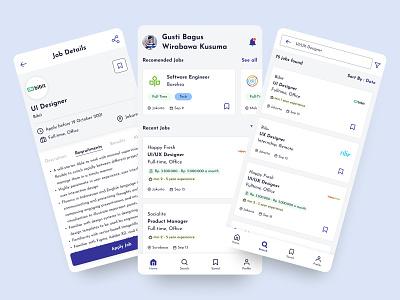 Job Finder Application layouting clean minimalism job finder job search jop ux ui android job app design mobile app app mobile career job listing job application uiux job portal