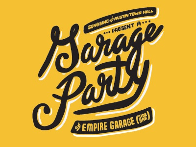 Garage Party illustration type hand-drawn lettering austin town hall sxsw
