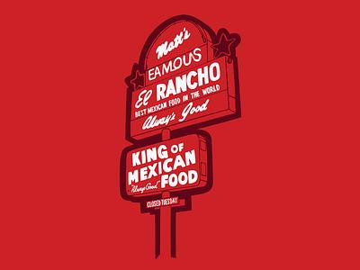 Matt's El Rancho hand-drawn illustration signs of austin