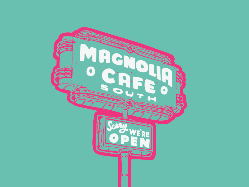 Magnolia Cafe Sign hand-drawn neon signs austin