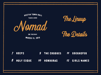 Nomad Party eastside font austin town hall lettering hand-drawn