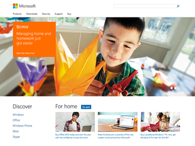 Microsoft Homepage paravel responsive homepage