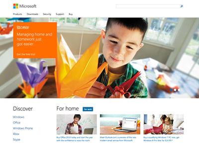 Microsoft Homepage paravel responsive homepage
