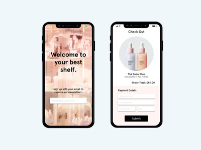 Daily UI :: 001 & 002 glossier design checkout signup mobile uxdesign ux ui dailyui