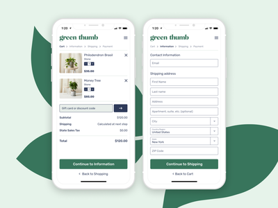 Green Thumb Checkout plants dailyui 002 dailyui checkout page checkout