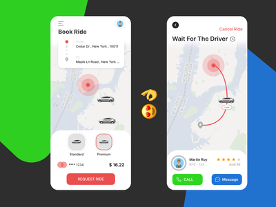 Book Ride app branding design illustrator ux illustration rider green blue red uiux ui taxi ride book