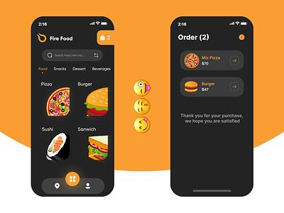 Online Food App Concept black ux design uidesign white orange burgers pizza food ui design uiux ui