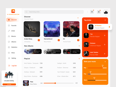 SoundCloud Dashboard dashboard uiux 3d red typography logo illustrator app branding vector graphic design animation ux illustration design ui art orange song sound