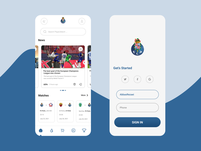 FC Porto App Concept dark black blue typography vector app logo branding illustrator illustration design ux ui uiux soccer