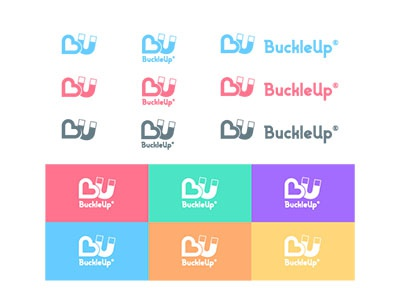 BuckleUp logo variations color app dating logo branding