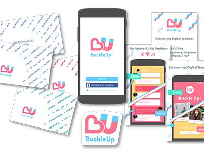 BuckleUp logobranding on various materials particle pattern logo branding