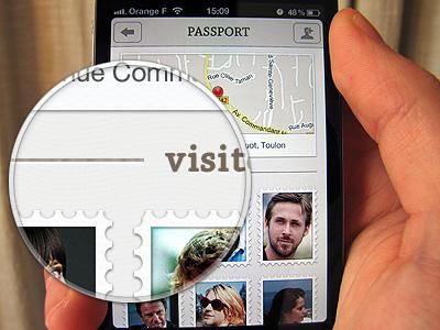 Passport Concept App iphone app ui passport avatar stamp map pin user check address texture
