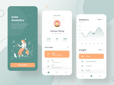 Insta Analytics inspiration trends ui  ux design mobile design mobile app design ui design ui ux analytics chart analytics modern design vector mobile app dailyui app illustration minimal mobile ui ux