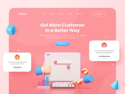 Blinky Business Landing Page 3d illustration web design hero section landing page design website 3d modeling website design typography vector branding logo illustration ui design dailyui minimal ux ui