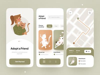 Pet Adoption App design graphic design illustration mobile app trends dailyui ui design minimal ux ui