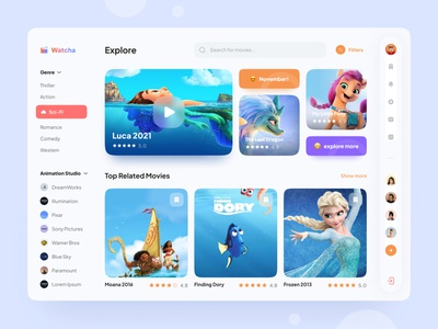 Watcha Movie Streaming colorful minimal clean streaming movie design mobile app dailyui logo 3d illustration trends ui design ux branding animation ui