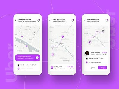 Uber App Design ux ui grab gojek motorcycle map car delivery uber