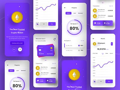 Crypto Wallet App Design money coins transactions ethereum bitcoins wallet crypto