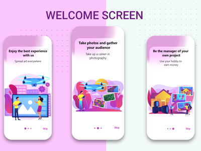 welcome screen ux ui design mobile ui design app ux