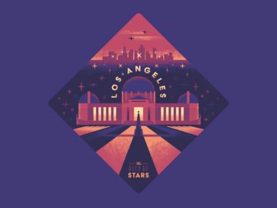 Los Angeles Badge photoshop illustrator texture sticker badge observatory griffith city stars