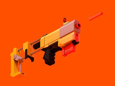 Killshot illustration gun render 3d c4d nerf