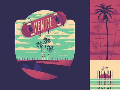 Venice Beach Badge badge lettering palm skateboard skate california ca beach venice