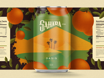 Sahara Soda can design desert oasis pop can soda sahara