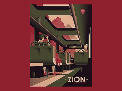 Zion Bus photoshop illustrator gradient texture bus nps national park zion