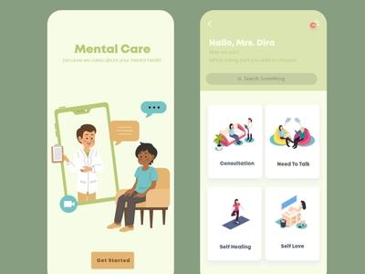 Mental Care app illustration ux ui minimal flat design app