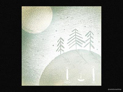 Bitter-Sweet Winter procreate ipad ipadpro canada winnipeg manitoba cold earth moon pinetrees winter