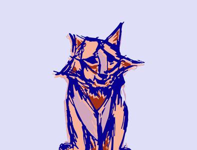 Hand drawn colorful tiger sketch