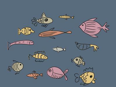 fish sketches sketch cartoon fish flat illustration vector design